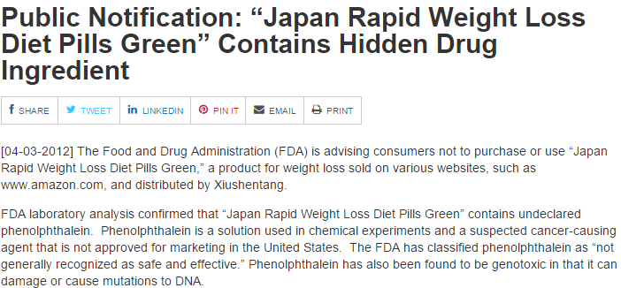 FDA Warning of Japanese weight loss pills